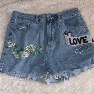 TopShop Denim Embroidered Mom Shorts